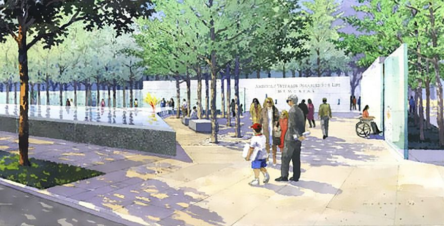 An architectural rendering of the finished memorial