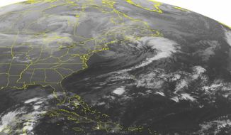This NOAA satellite image taken Monday, Nov. 11, 2013 at 1:45 a.m. EST  shows scattered snow showers across northern New England and New York. A cold front with rain and snow showers is moving through the Upper Mississippi Valley and western Great Lakes region. High pressure is the rule across the Ohio/Tennessee Valleys and Southeast. (AP Photo/Weather Underground)