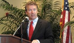** FILE ** Sen. Rand Paul, Kentucky Republican, speaks during a GOP fundraiser in Charleston, S.C., on Monday, Nov. 11, 2013. (AP Photo/Bruce Smith)