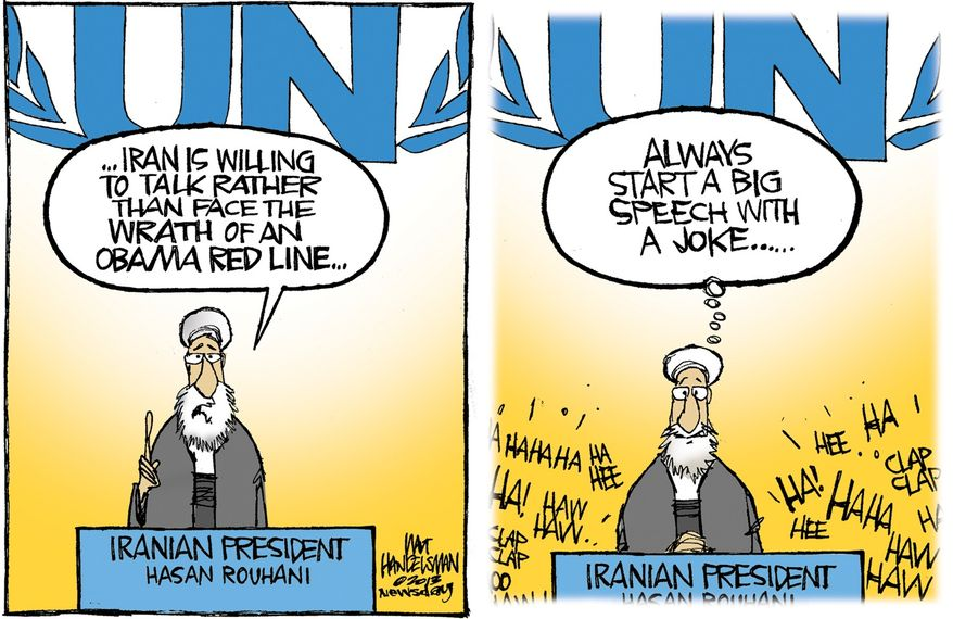 Iran is willing to talk rather than face the wrath of an Obama red line ... (Illustration by Walt Handelsman of Newsday)
