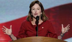 **FILE** Sen. Kay Hagan of North Carolina speaks at the Democratic National Convention in Charlotte, N.C., on Sept. 6, 2012. (Associated Press)