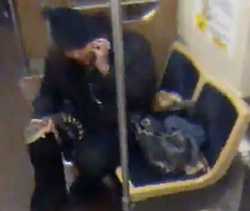 This security camera image provided by the Chicago Transit Authority on Wednesday, Nov. 13, 2013, shows a woman with a 2-foot-long alligator aboard a CTA Blue Line train early in the morning of Nov. 1, 2013, in Chicago. Authorities are searching for the woman, who they believe discarded the reptile at O'Hare International Airport. (AP Photo/Chicago Transit Authority)