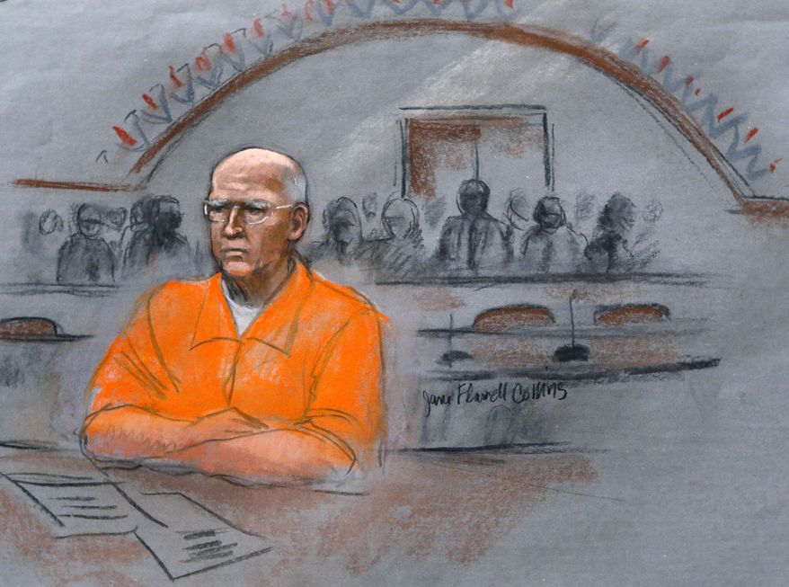 """In this courtroom sketch, James """"Whitey"""" Bulger sits at his sentencing hearing in federal court in Boston, Wednesday, Nov. 13, 2013. Bulger was convicted in August in a broad indictment that included racketeering charges in a string of murders in the 1970s and '80s, as well as extortion, money-laundering and weapons charges. (AP Photo/Jane Flavell Collins)"""
