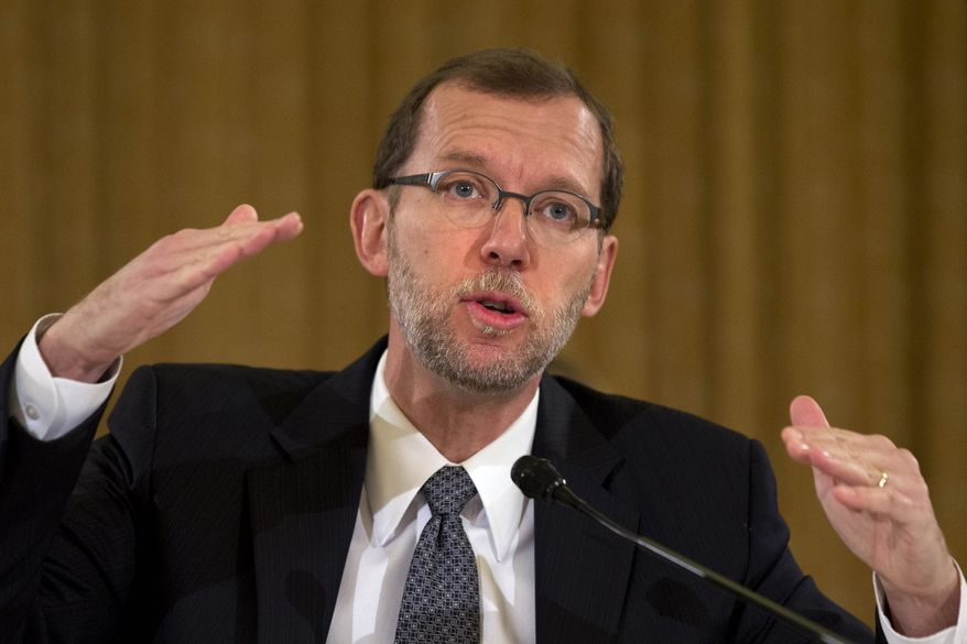 Congressional Budget Director Doug Elmendorf  talks about the economic outlook while testifying on Capitol Hill in Washington, Wednesday, Nov. 13, 2013, before the Congressional Budget Conference. (AP Photo/Jacquelyn Martin) ** FILE **