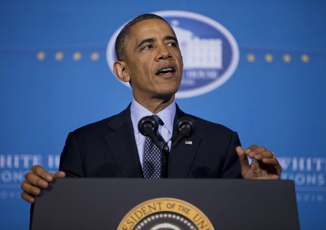 President Barack Obama speaks at the 2013 Tribal Nations Conference, Wednesday, Nov. 13, 2013, at the Interior Department in Washington. (AP Photo/ Evan Vu