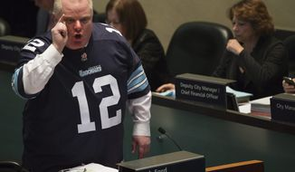 Toronto Mayor Rob Ford, speaking during a City Council meeting on Thursday, Nov. 14, 2013, responds to new allegations against him. (AP Photo/The Canadian Press, Nathan Denette)