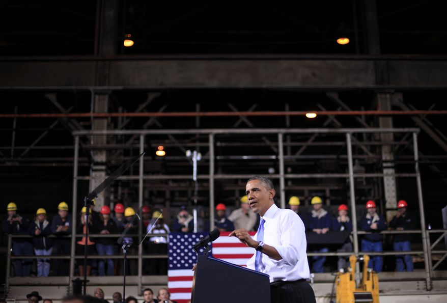 President Barack Obama speaks at ArcelorMittal, a steel mill in Cleveland, Thursday, Nov. 14, 2013. Obama visited the steel mill to discuss the economy and manufacturing. From Ohio the president will travel to Philadelphia to raise campaign money benefiting the Democratic Senatorial Campaign Committee (DSCC). (AP Photo/Pablo Martinez Monsivais)