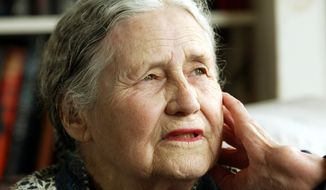 "Doris Lessing, pictured in 2006 at age 86 in her home in north London, was the free-thinking, world-traveling, often-polarizing writer of ""The Golden Notebook"" and dozens of other novels that reflected her own improbable journey across the former British Empire. The Nobel Prize-winning author died on Sunday, Nov. 17, 2013, at age 94. (AP Photo/Martin Cleaver)"
