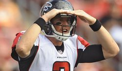 Atlanta Falcons quarterback Matt Ryan (2) calls a play against the Tampa Bay Buccaneers during the second quarter of an NFL football game Sunday, Nov. 17, 2013, in Tampa, Fla. (AP Photo/Brian Blanco)