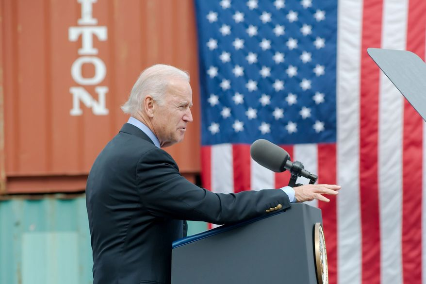 """Vice President Joseph R. Biden speaks about the impact of the Port of Houston on the local economy during a ceremony in Pasadena, Texas, on Monday. Addressing the problems with Obamacare, Mr. Biden said, """"The truth is, we're going to fix it  God willing."""" Mr. Biden is just one potential Democratic presidential hopeful saddled with the politically delicate task of figuring out how to handle Obamacare's rocky start. (Associated Press)"""