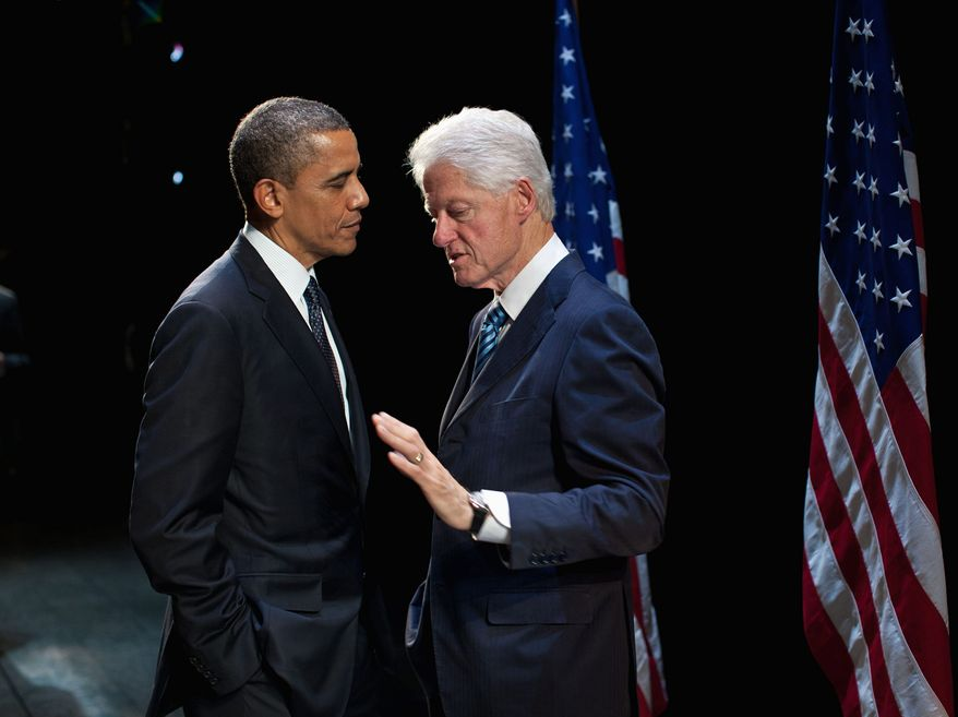 "Frenemies: President Obama reportedly has said he likes former President Bill Clinton ""in doses."" He will get his fill Wednesday when he bestows the Medal of Freedom on his predecessor, who still basks in the political limelight. (White House photograph)"