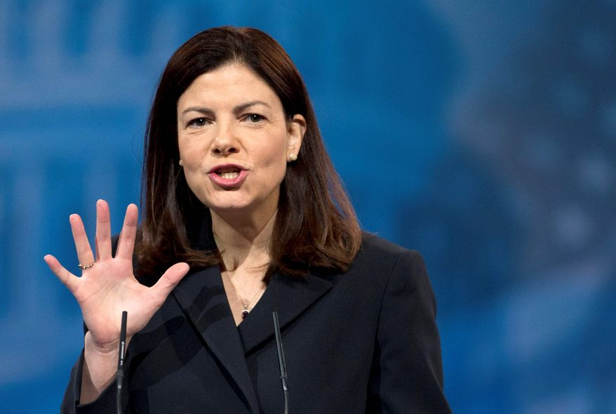 An amendment introduced by Sen. Kelly Ayotte, New Hampshire Republican, to preserve tight restrictions on Guantanamo detainees was defeated by a vote of 55 to 43 in the Senate. (ASSOCIATED PRESS)