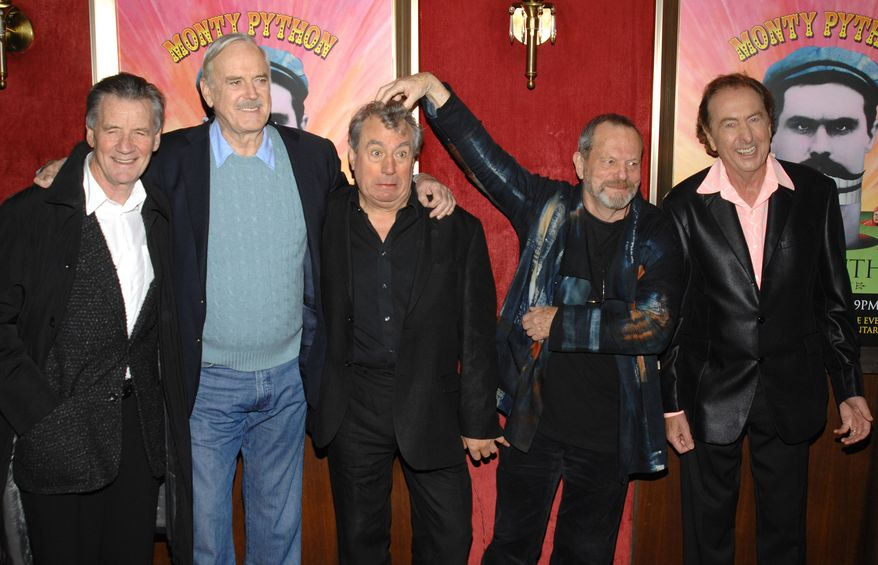 """FILE - This is a Thursday, Oct. 15, 2009. file photo of  from left, actors Michael Palin, John Cleese, Terry Jones, Terry Gilliam and Eric Idle attend the IFC and BAFTA premiere of """"Monty Python: Almost The Truth (The Lawyers Cut)"""", in New York. Python member Terry Jones told the BBC on Tuesday Noiv. 19, 2013 that he's excited the group is reuniting. He said he hopes to make enough money to pay off his mortgage. The group had its first big success with the Monty Python's Flying Circus TV show, which ran from 1969 until 1974, winning fans around the world with its bizarre sketches. The group branched out into movies including """"Life of Brian"""" and backed theatrical shows such as """"Monty Python's Spamalot."""" The five surviving members last performed together in 1998. The sixth member, Graham Chapman, died of cancer in 1989. (AP Photo/Peter Kramer, File)"""