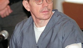 ** FILE ** In this Monday, Oct. 19, 1998, file photo, Joseph Paul Franklin sits in Hamilton County Common Pleas Court where jury selection was set to begin in his murder trial in Cincinnati. (AP Photo/Al Behrman, File)