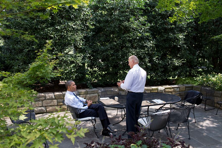 President Barack Obama and Vice President Joe Biden have lunch on the patio outside the Oval Office, Aug. 30, 2012. (Official White House Photo by Pete Souza)