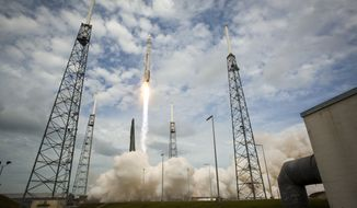 In this photo provided by NASA, the United Launch Alliance Atlas V rocket with NASA's Maven spacecraft launches from the Cape Canaveral Air Force Station Space Launch Complex 41, Monday, Nov. 18, 2013, in Cape Canaveral, Fla. NASA's Mars-bound spacecraft, the Mars Atmosphere and Volatile EvolutioN, is the first spacecraft devoted to exploring and understanding the Martian upper atmosphere. (AP Photo/NASA, Bill Ingalls)