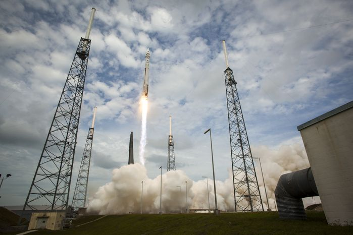 In this photo provided by NASA, the United Launch Alliance Atlas V rocket with NASA's Maven spacecraft launches from the Cape Canaveral Air Force Station Space Launch Complex 41, Monday, Nov. 18, 2013, in Cape Canaveral, Fla. NASA's Mars-bound spacecraft, the Mars Atmosphere and Volatile Evol