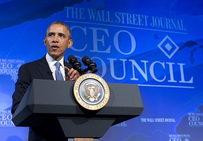 President Barack Obama gestures while speaking at the Wall Street Journal CEO Council annual meeting in Washington, Tuesday, Nov. 19, 2013. Obama answered questions on the economy, the problems with the new health care law roll out, immigration reform, and negotiations with Iran over their nuclear program. (AP Photo/ Evan Vucci)