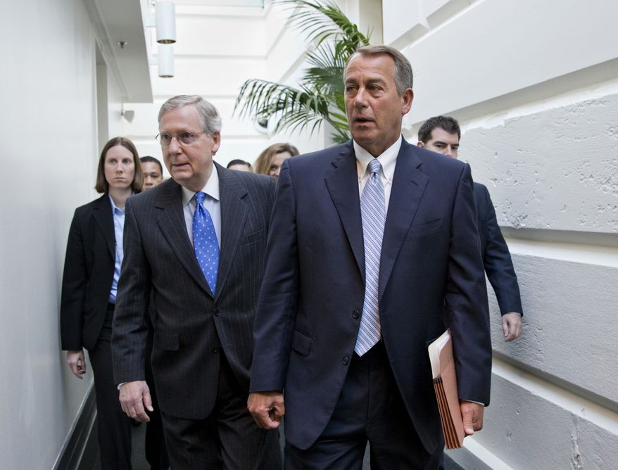 House Speaker John Boehner of Ohio, right, walks with then-Senate Minority Leader Mitch McConnell of Ky., left, as they make their way to a GOP strategy session on Capitol Hill in Washington, Tuesday, Nov. 19, 2013. (AP Photo/J. Scott Applewhite) ** FILE **
