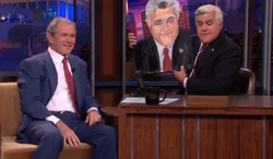 """** FILE ** A screen shot of former President George W. Bush appearing on NBC's """"Tonight"""" show with host Jay Leno."""