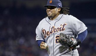 FILE - In this Oct. 13, 2013, file photo, Detroit Tigers' Prince Fielder runs off the field during Game 2 of the American League baseball championship series against the Boston Red Sox, in Boston. The Detroit Tigers and Texas agreed to a blockbuster trade Wednesday, Nov. 20, that would send Fielder to the Rangers for second baseman Ian Kinsler, according to a person with knowledge of the deal. (AP Photo/Matt Slocum, File)