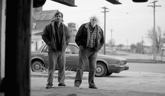 "Bruce Dern's character returns to his hometown with his son, played by Will Forte, to claim a sweepstakes winning and redeem himself in ""Nebraska."" (paramount pictures via associated press)"