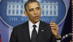 President Obama speaks in the James Brady Press Briefing Room of the White House in Washington on Thursday, Nov. 21, 2013. Mr. Obama was commenting on the Senate's move to make it harder for Republicans to block his nominees. (AP Photo/Pablo Martinez Monsivais)