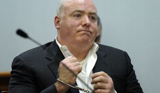 Michael Skakel, a nephew of Ethel Kennedy's, listens to Judge Trial Referee Thomas Bishop's ruling during a hearing in Rockville Superior Court in Vernon, Conn., on Wednesday, Nov. 6, 2013, to determine if he could be released while awaiting a new trial in the 1975 slaying of neighbor Martha Moxley. (AP Photo/Fred Beckham, Pool)