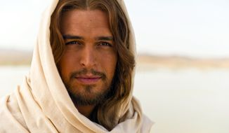 "** FILE ** This image released by LightWorkers Media shows Diogo Morgado who plays Jesus in the film ""The Bible."" (AP Photo/LightWorkers Media, Joe Alblas)"