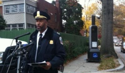 Assistant Chief Lamar Greene with the Metropolitan Police Department talks about new automated traffic enforcement cameras being activated in the District during a Nov. 22 news conference. (Andrea Noble/The Washington Times)