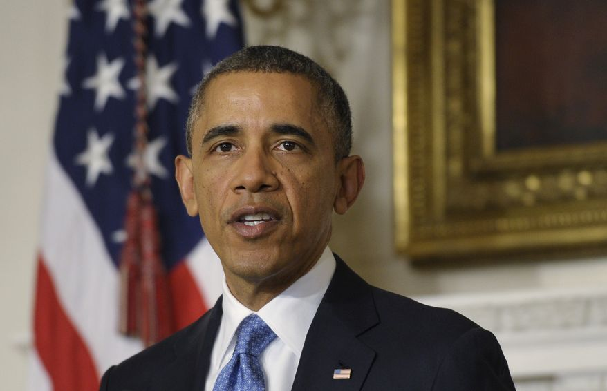 President Barack Obama speaks in the State Dining Room at the White House Saturday, Nov. 23, 2013, in Washington about the nuclear deal between six world powers and Iran that calls on Tehran to limit its nuclear activities in return for sanctions relief.(AP Photo/Susan Walsh)