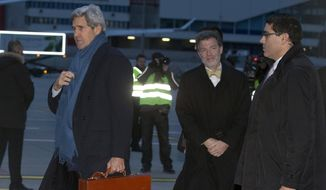U.S. Secretary of State John Kerry arrives at Geneva International airport, Saturday, Nov. 23, 2013, in Geneva, Switzerland, for the Iran nuclear talks. (AP Photo/Carolyn Kaster, Pool)