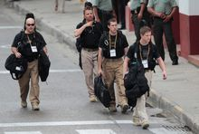 """Secret Service agents walk around the Convention Center in Cartagena prior to the Summit of the Americas in April 2012. """"Cartagena is about a lot of things, but primarily it's about whether the Secret Service conducts thorough investigations and whether penalties are handed out equally,"""" said one veteran congressional investigator."""