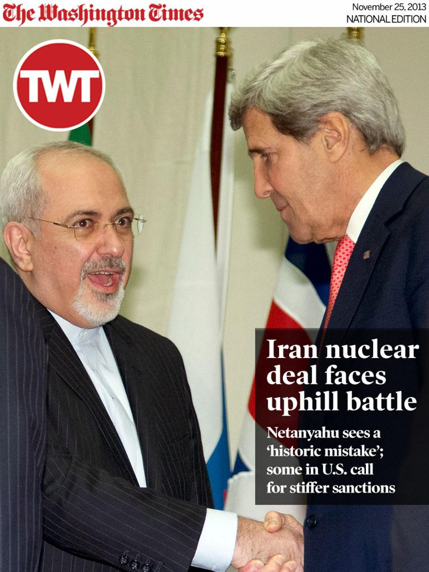 National Edition News Cover for November 25, 2013 - Iran nuclear deal faces uphill battle - U.S. Secretary of State John Kerry, right, and Iranian Foreign Minister Mohammad Javad Zarif, shake hands at the United Nations Palais, Sunday, Nov. 24, 2013, in Geneva, Switzerland.  Iran struck a historic nuclear deal Sunday with the United States and five other world powers, in the most significant development between Washington and Tehran in more than three decades of estrangement between the two nations. The agreement commits Iran to curb its nuclear activities in exchange for limited and gradual sanctions relief. (AP Photo/Carolyn Kaster, Pool)