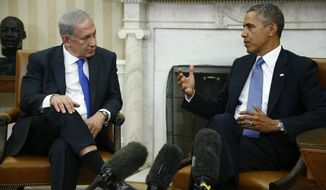 ** FILE ** President Obama (right) meets with Israeli Prime Minister Benjamin Netanyahu in the Oval Office at the White House in Washington on Monday, Sept. 30, 2013. (AP Photo/Charles Dharapak)