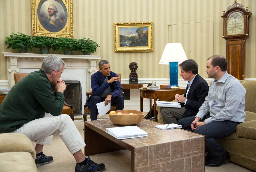 President Barack Obama meets in the Oval Office with Chief of Staff Denis McDonough, and Deputy National Security Advisors Tony Blinken and Ben Rhodes, to discuss ongoing negotiations with Iran, Saturday, Nov. 23, 2013.  (Official White House Photo by Pete Souza)