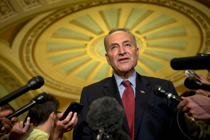 """Sen. Charles E. Schumer, New York Democrat, said """"this is serious stuff,"""" referring to renewing the ban on plastic guns. His office said that there may still be time for the Senate to renew the ban when it expires on the day that the chamber reconvenes. (ASSOCIATED PRESS PHOTOGRAPHS)"""