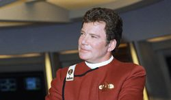 """William Shatner appears dressed as Capt. Kirk at a photo opportunity promoting the Paramount Studios film """"Star Trek V: the final frontier,"""" Dec. 28, 1988. (AP Photo/Bob Galbraith) ** FILE **"""