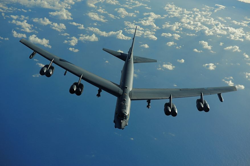 100710-F-5964B-393 PACIFIC OCEAN (July 10, 2010) A U.S. Air Force B-52 Stratofortress from the 20th Expeditionary Bomb Squadron, Barksdale AFB, La., flies a mission in support of Rim of the Pacific (RIMPAC) 2010. RIMPAC includes more than 14 nations, 32 ships, five submarines, more than 170 aircraft and more than 20,000 Soldiers, Sailors, Marines and Airmen. RIMPAC enhances cooperation between partnering nations and practices our ability to plan, communicate, and execute operations. (U.S. Air Force photo by Tech. Sgt. Jacob N. Bailey)