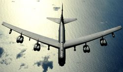A B-52 bomber flies over the Pacific Ocean. (Image: U.S. Air Force)