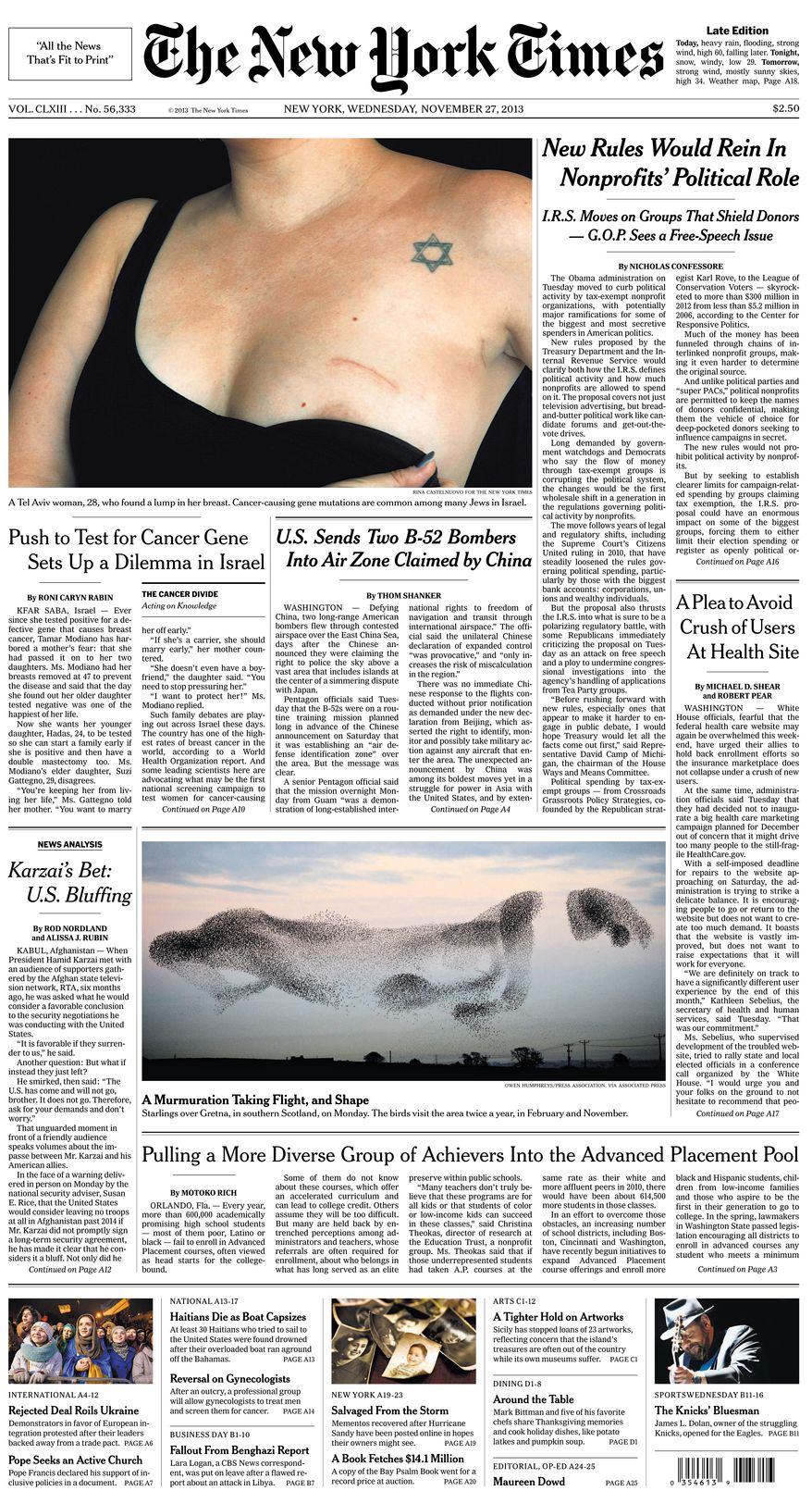New York Times front page for November 27, 2013.