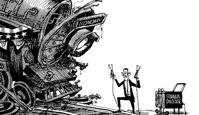 Group:  BusinessViewsCredit: GABLESource: The Globe and Mail - Toronto, CanadaKeywords: ECONOMY TRAIN OBAMA STIMULUS BAILOUTS RECESSION FINANCIAL CRISIS STAY TUNEDProvider:  CartoonArts International / The New York Times Syndicate