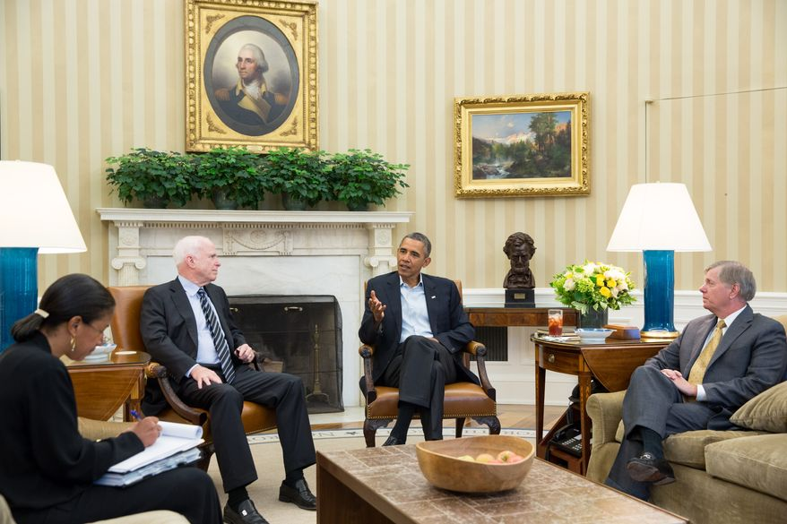 President Barack Obama meets with Senators John McCain and Lindsey Graham in the Oval Office to discuss Syria, Sept. 2, 2013. National Security Advisor Susan E. Rice is at left.