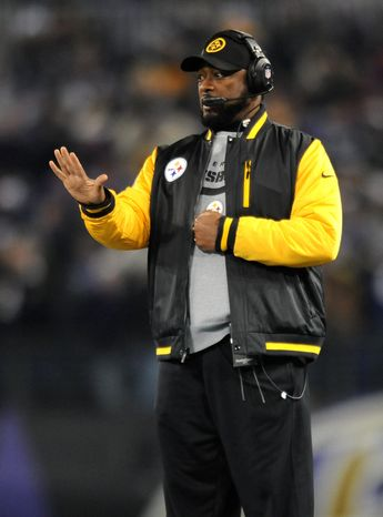 Pittsburgh Steelers head coach Mike Tomlin gestures toward his players in the second half of an NFL football game against the Baltimore Ravens, Thursday, Nov. 28, 2013, in Baltimore. (AP Photo/Gail Burton)