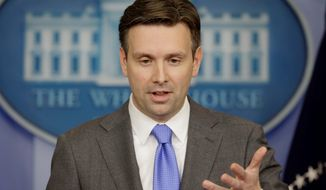 """There are certain circumstances where it is not feasible to have independent journalists in the room,"" White House deputy press secretary Josh Earnest said. (Associated Press)"