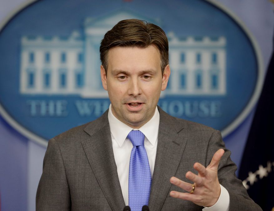 """""""There are certain circumstances where it is not feasible to have independent journalists in the room,"""" White House deputy press secretary Josh Earnest said. (Associated Press)"""