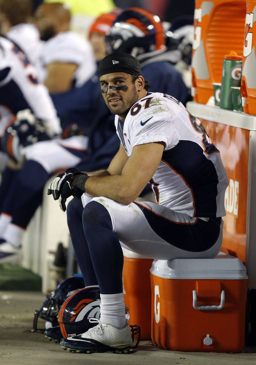 Denver Broncos wide receiver Eric Decker (87) smiles as he sits on the sideline bench during the second half of an NFL football game against the Kansas City Chiefs, Sunday, Dec. 1, 2013, in Kansas City, Mo. The Broncos won 35-28. (AP Photo/Ed Zurga)