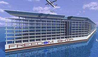 "The proposed design of a $10 billion floating city called ""Freedom Ship,"" which would be home to at least 25,000 people, is seen here (freedomship.com)"