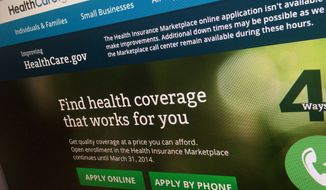 FILE - This Nov. 29, 2013 file photo shows part of the HealthCare.gov website, photographed in Washington. President Barack Obama's new and improved health care website will face its next big test when a year-end enrollment crunch is expected to hit in a couple of weeks. Until now the main damage from technology woes has been to Obama's poll ratings, but it will be average Americans feeling the consequences if HealthCare.gov chokes in coming weeks. (AP Photo/Jon Elswick)