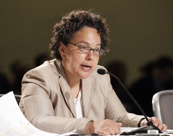**FILE** Nancy Sutley, Chair of the White House Council on Environmental Quality, testifies before the public meeting of the National Commission on the BP Deepwater Horizon Spill and Offshore Drilling at the Ronald Reagan Building in Washington on Aug. 25, 2010. (Associated Press)